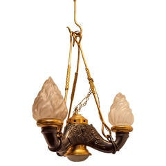 Grand Tour Style Two-Tone Bronze Chandelier