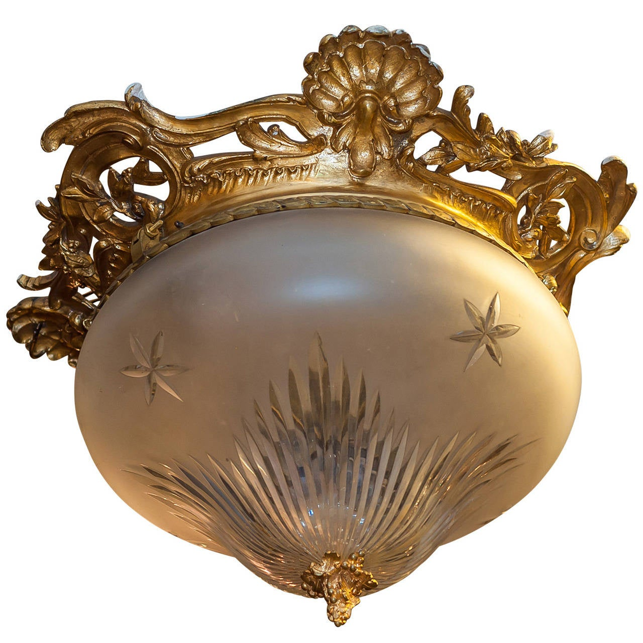 Gilt Bronze Ceiling Light Fixture With Etched Glass Dome