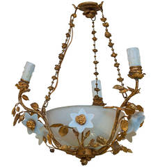 Bronze and Porcelain Three-Light Chandelier with Porcelain Flowers