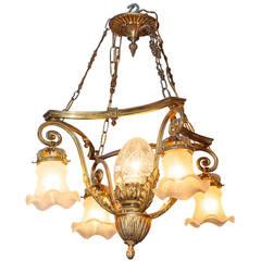 Small Five-Light Gilt Bronze Louis XV Style Chandelier