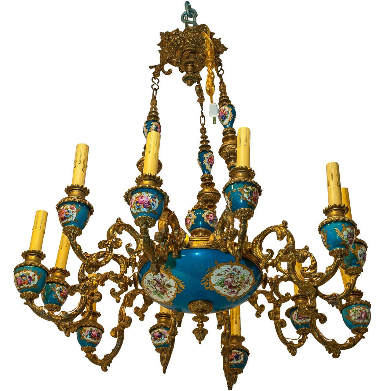 Gilt bronze and sevres style porcelain celeste blue 12 light gilt bronze and sevres style porcelain celeste blue 12 light chandelier for sale arubaitofo Image collections