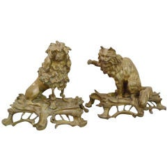 Pair of Cat and Dog Gilt Bronze Chenets