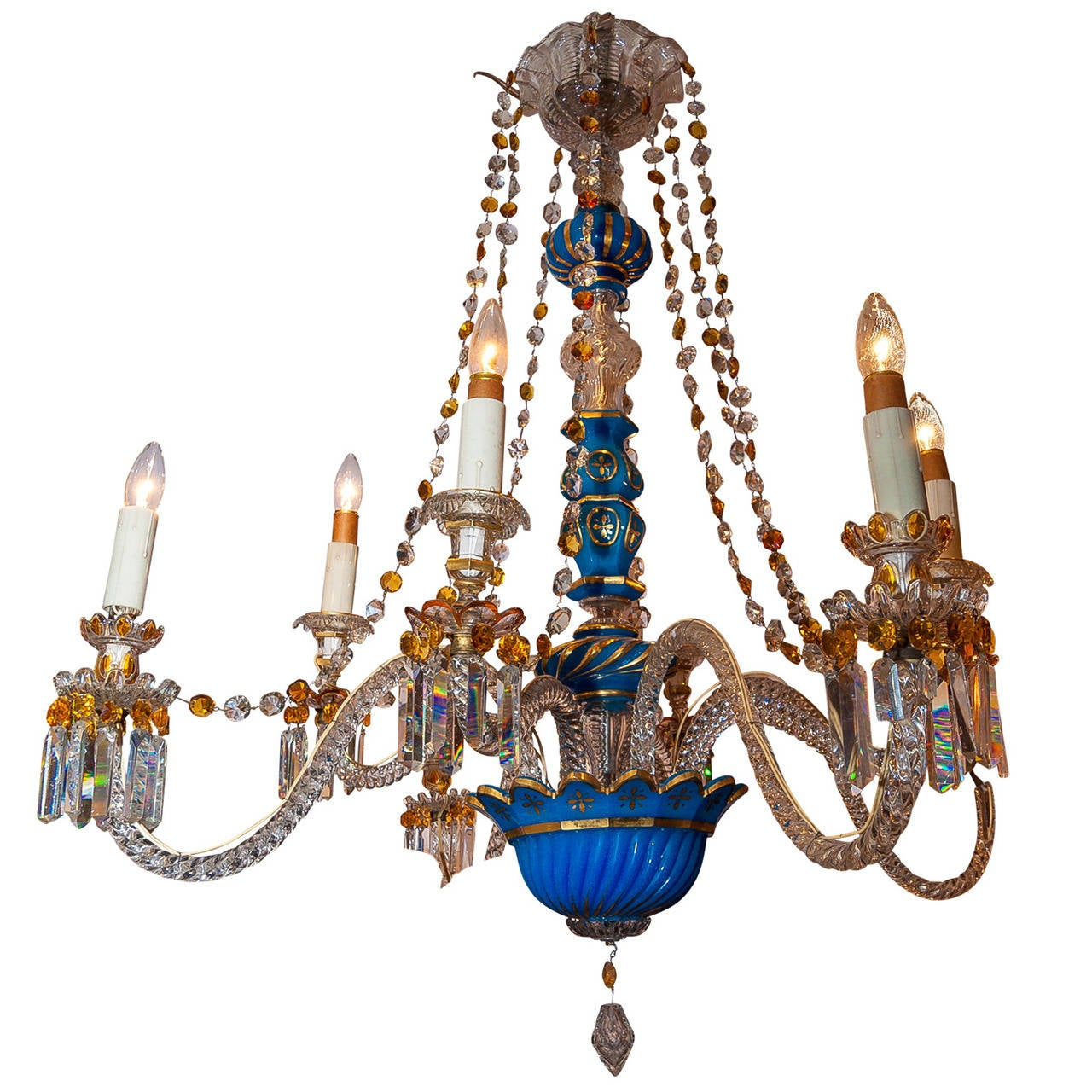 19th Century Bohemian Eight Light Blue Opaline And Clear