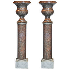 Pair of Neoclassical Campana Form Marble Urns on Pedestals