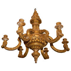 Giltwood French Louis XVI Style Six-Arm Chandelier