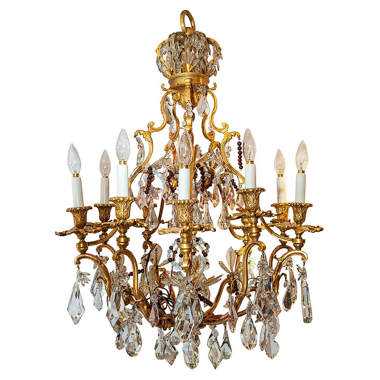 French Multicolored Crystal And Bronze Crown Top Ten