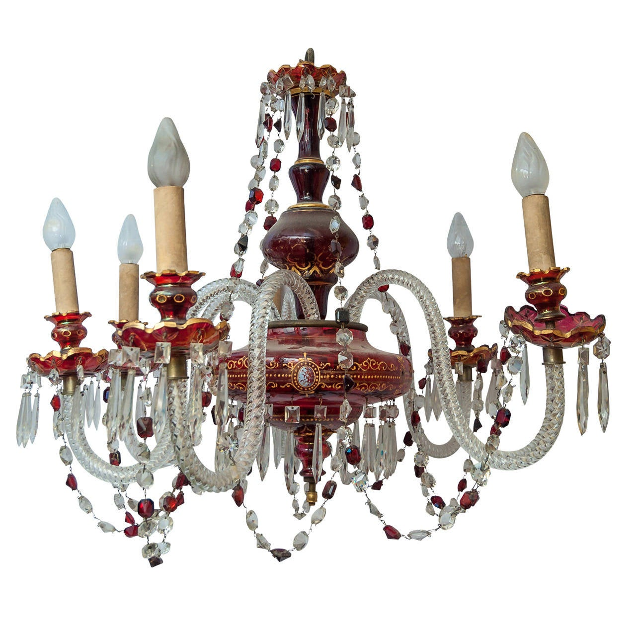 Fine Red Bohemian Six Light Chandelier At 1stdibs  sc 1 st  Democraciaejustica & Boho Chandelier Lighting - Democraciaejustica