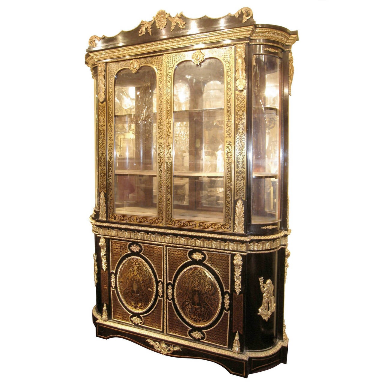 Tall Bronze Mounted Brass Inlaid Louis XIV Style Vitrine Cabinet