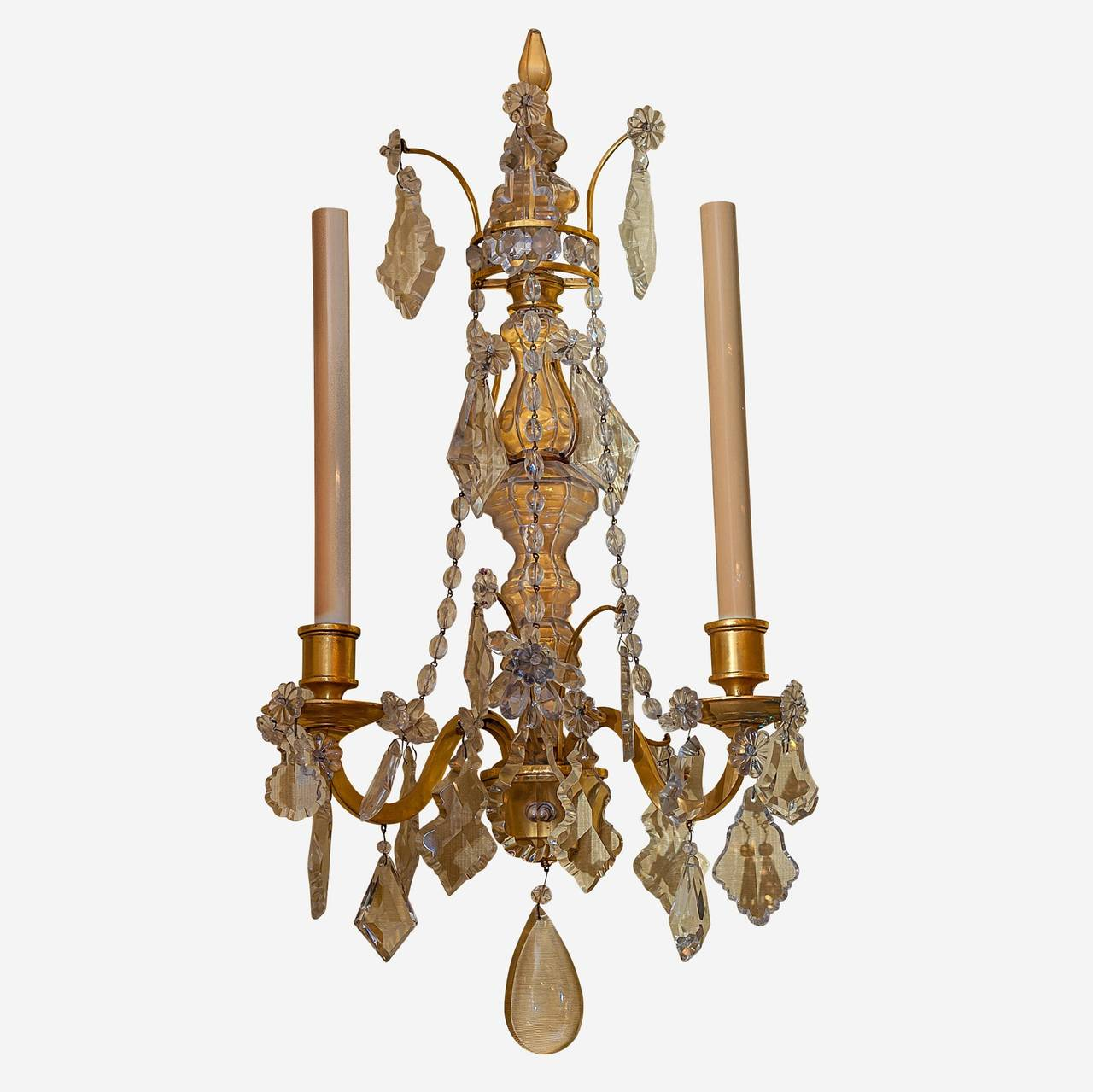 Pair of Two-Arm Crystal and Bronze Wall Light Sconces Attributed to caldwell For Sale at 1stdibs