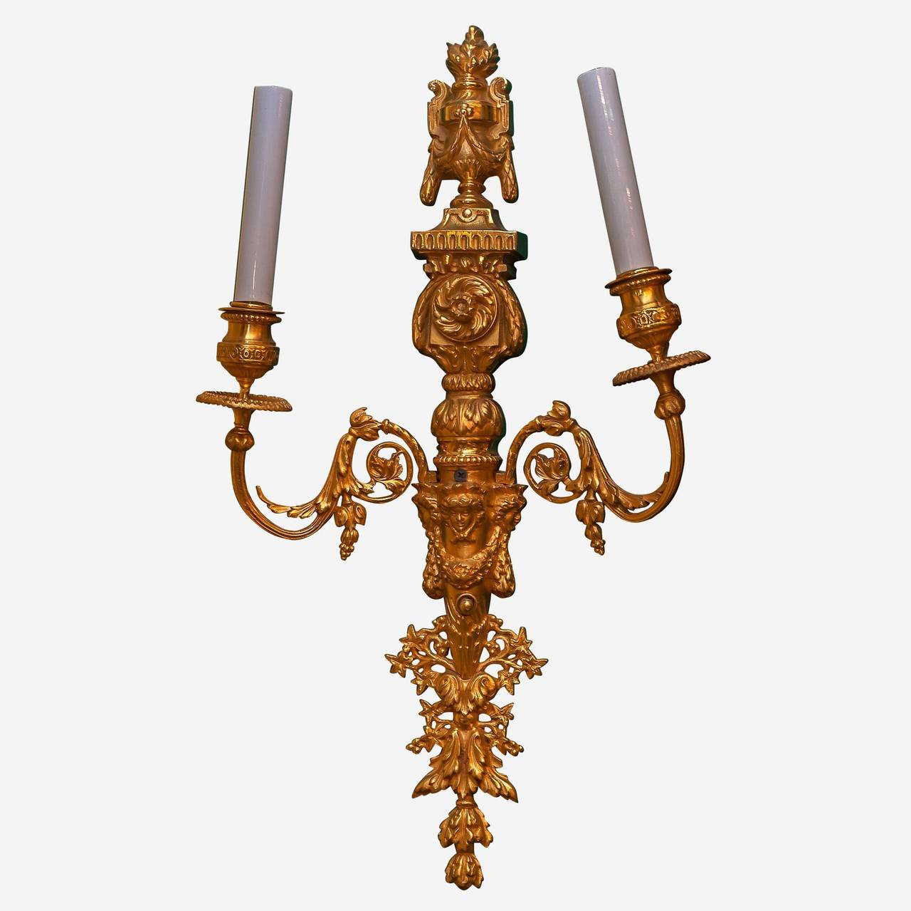 French Exquisite Pair of Gilt Bronze Louis XVI Style Two-Arm Wall Light Sconces For Sale