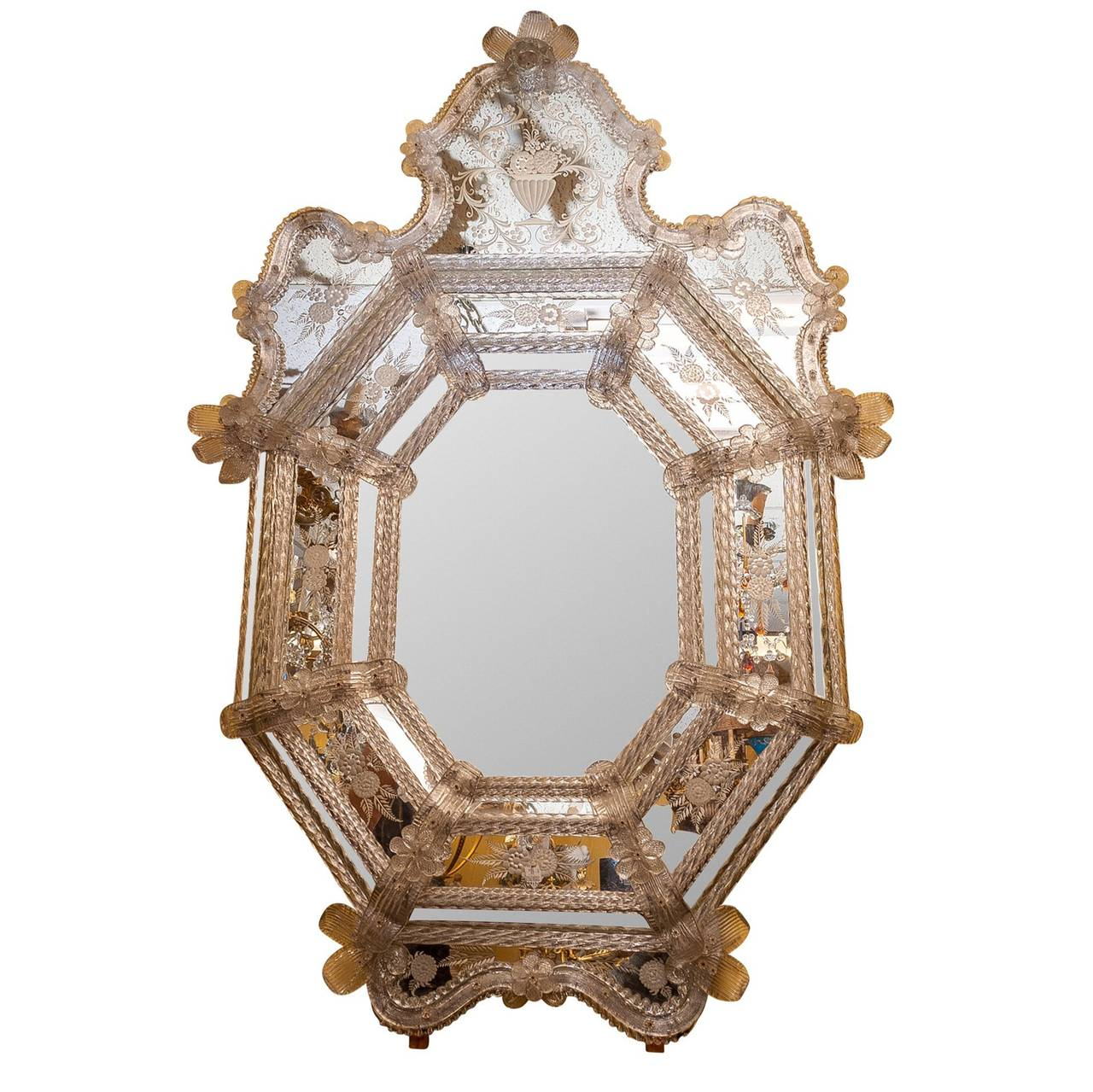 Venetian Etched Glass Double Bordered Mirror
