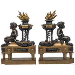 Pair of Two-Toned Bronze Figural Fireplace Chenets