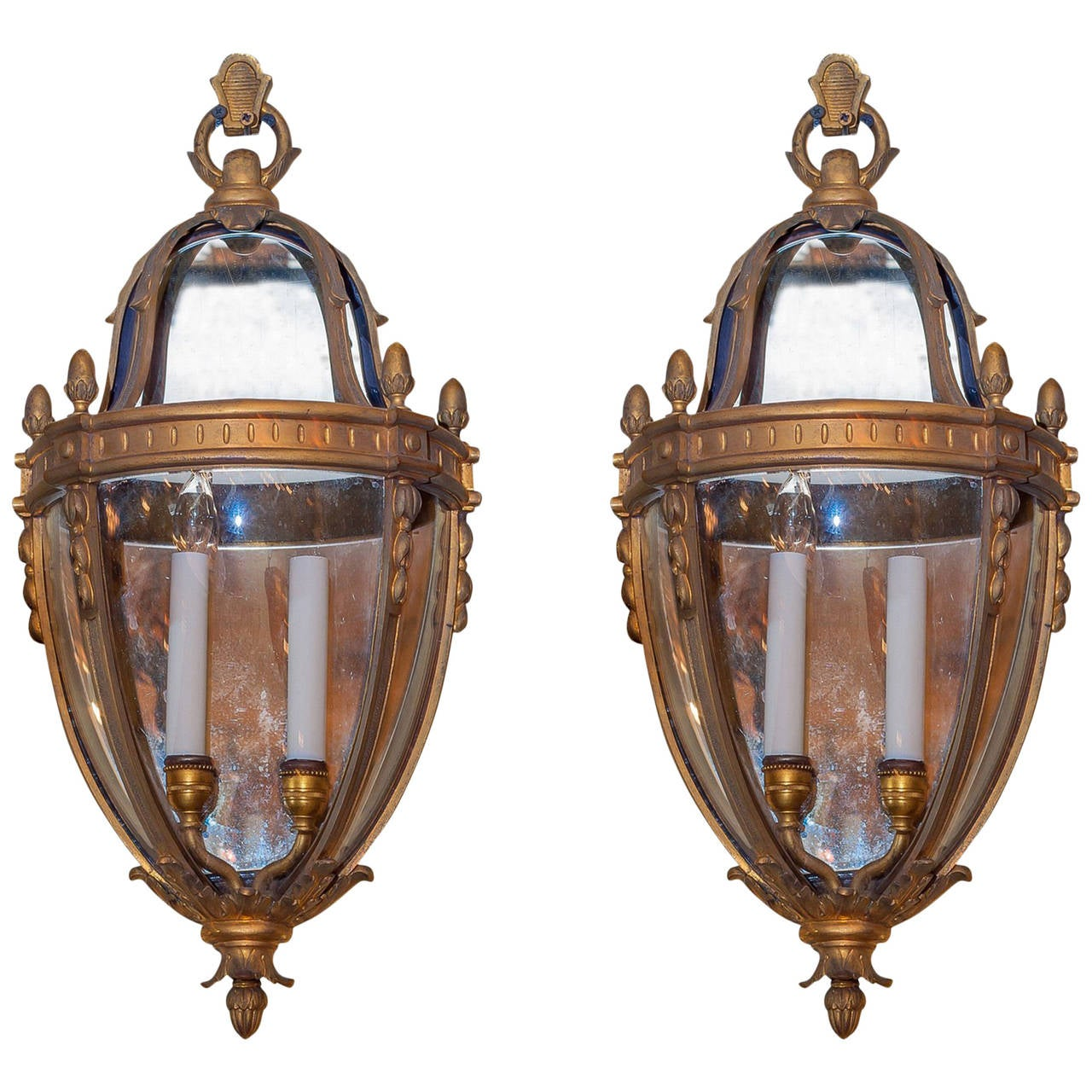 Unusual Pair Of Lantern Form Bronze Wall Light Sconces For