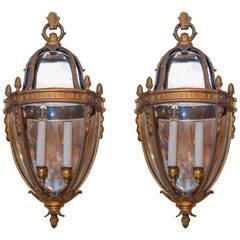 Unusual Pair of Lantern Form Bronze Wall Light Sconces