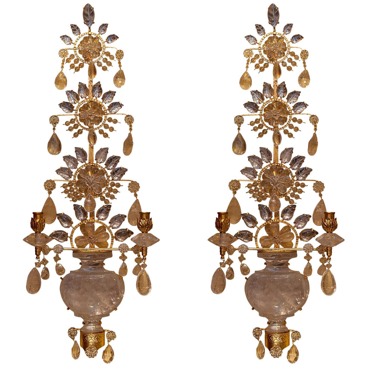 Pair of Rock Crystal and Gilt Metal Two-Arm Wall Light Sconces For Sale