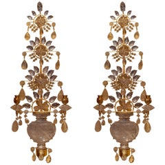Pair of Rock Crystal and Gilt Metal Two-Arm Wall Light Sconces