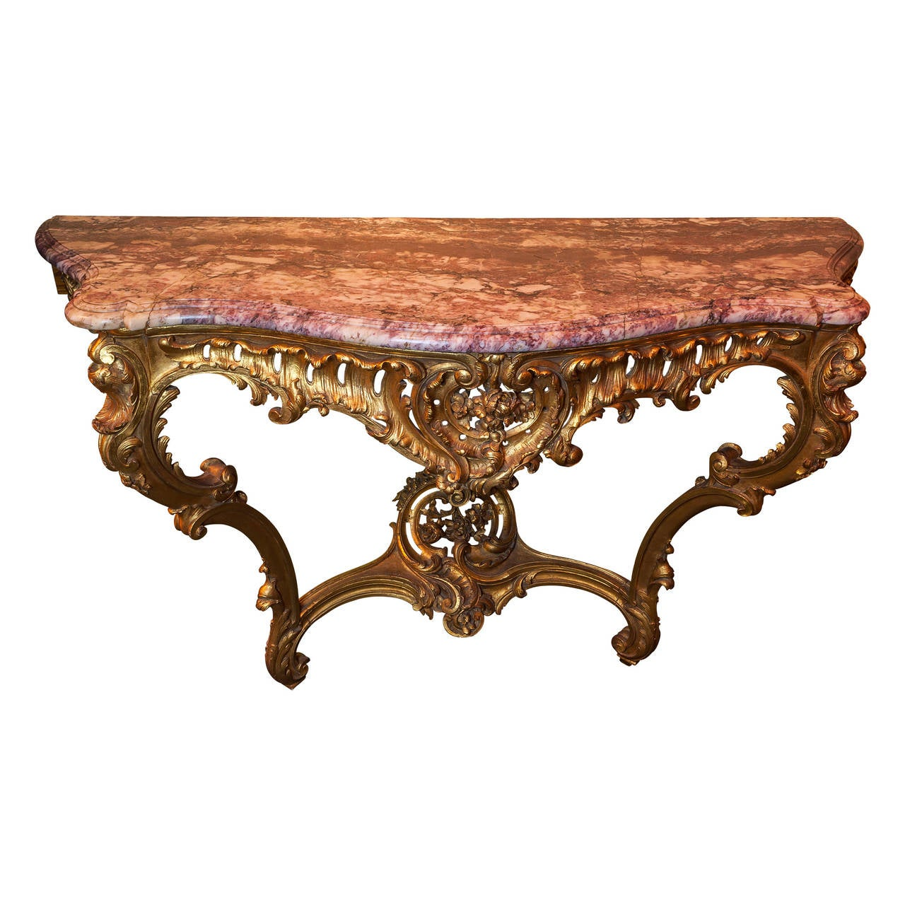 French louis xv style giltwood and marble top console table for sale at 1stdibs - Table louis xv ...