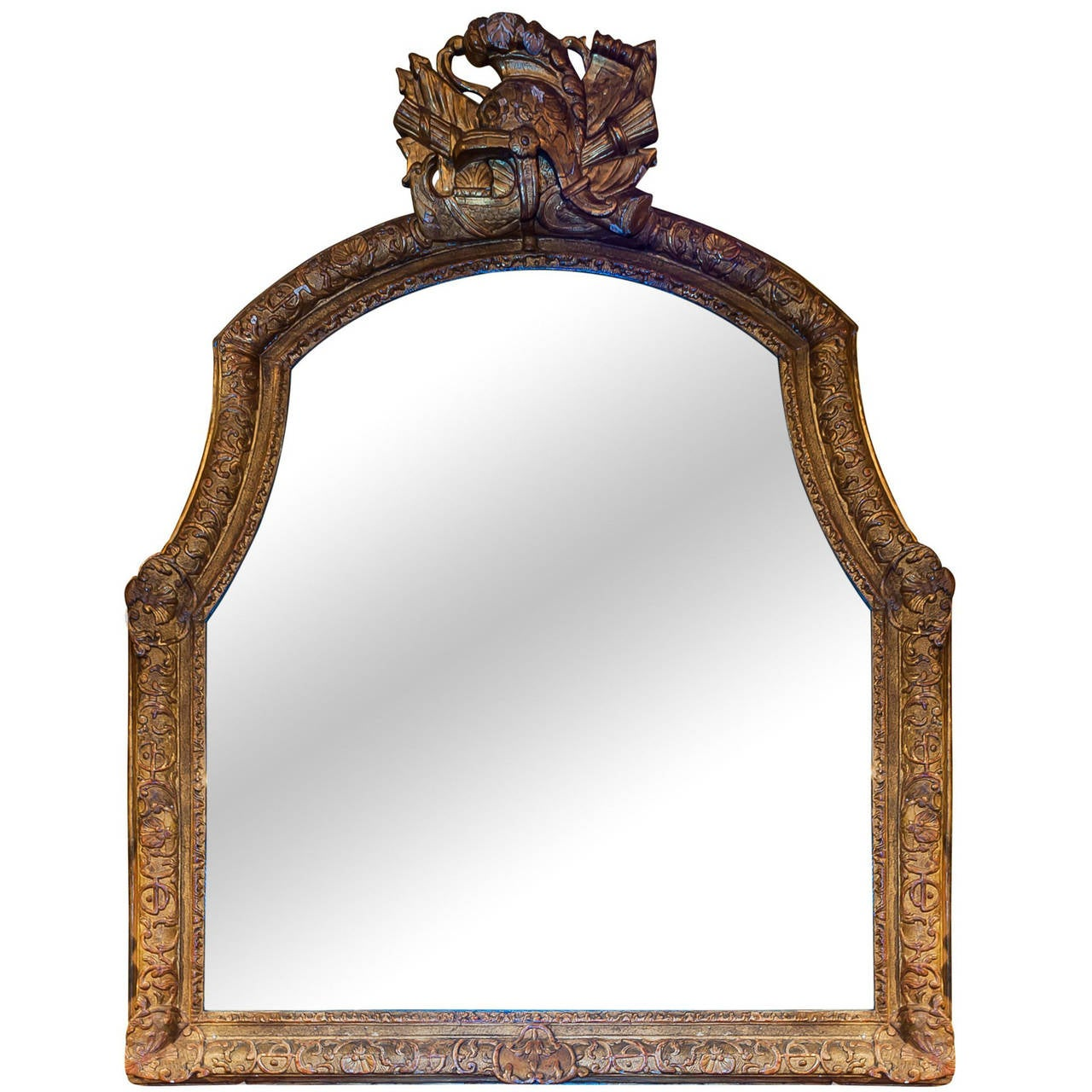 art deco period baroque style large mantel mirror in painted gesso for sale at 1stdibs. Black Bedroom Furniture Sets. Home Design Ideas
