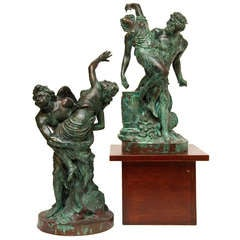 Pair of 19th Century Patinated Bronze Neoclassical Figural Groups