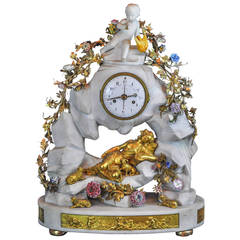 White Marble and Bronze Figural Mantel Clock with Porcelain Flowers