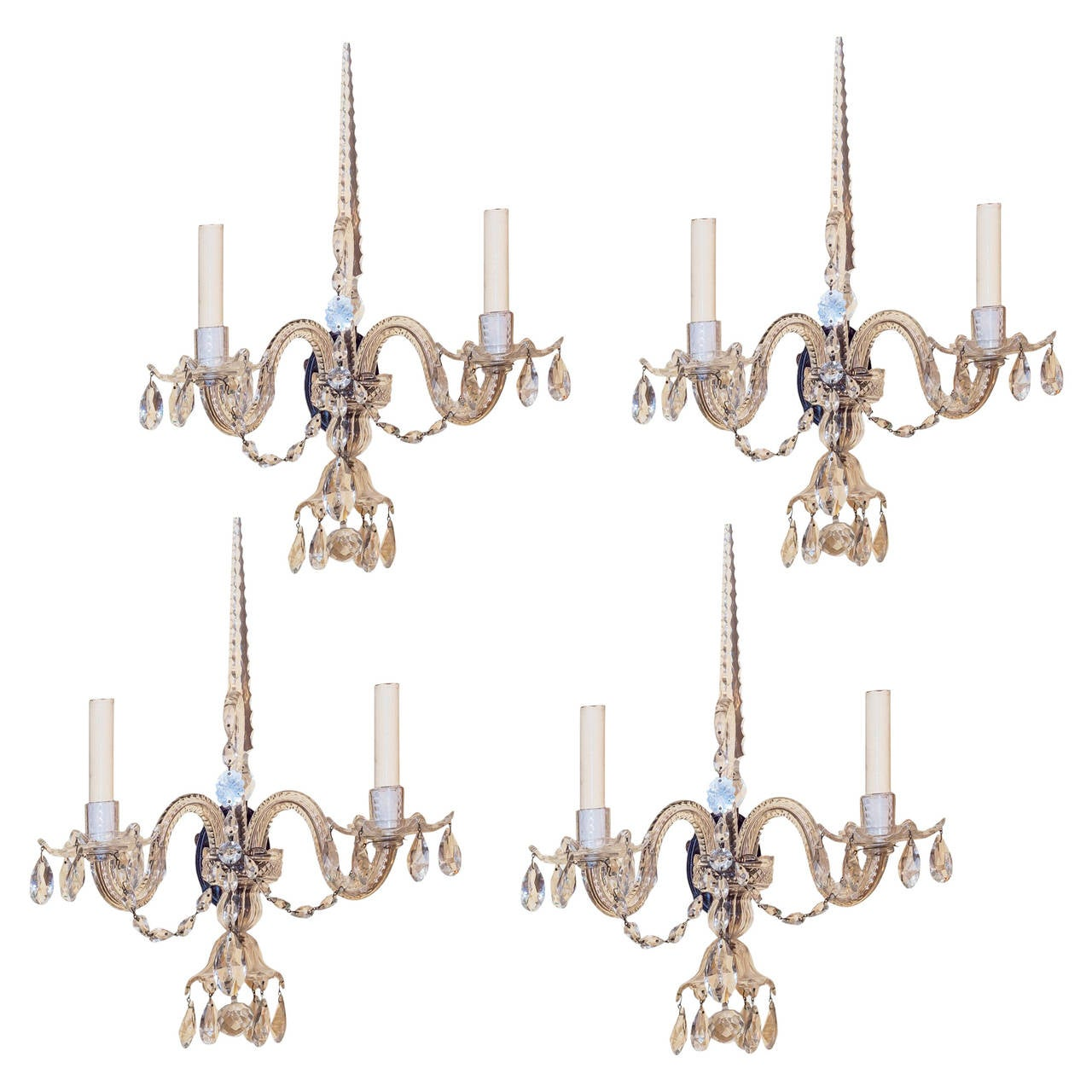 Set of Four Crystal Two-Light Wall Light Sconces