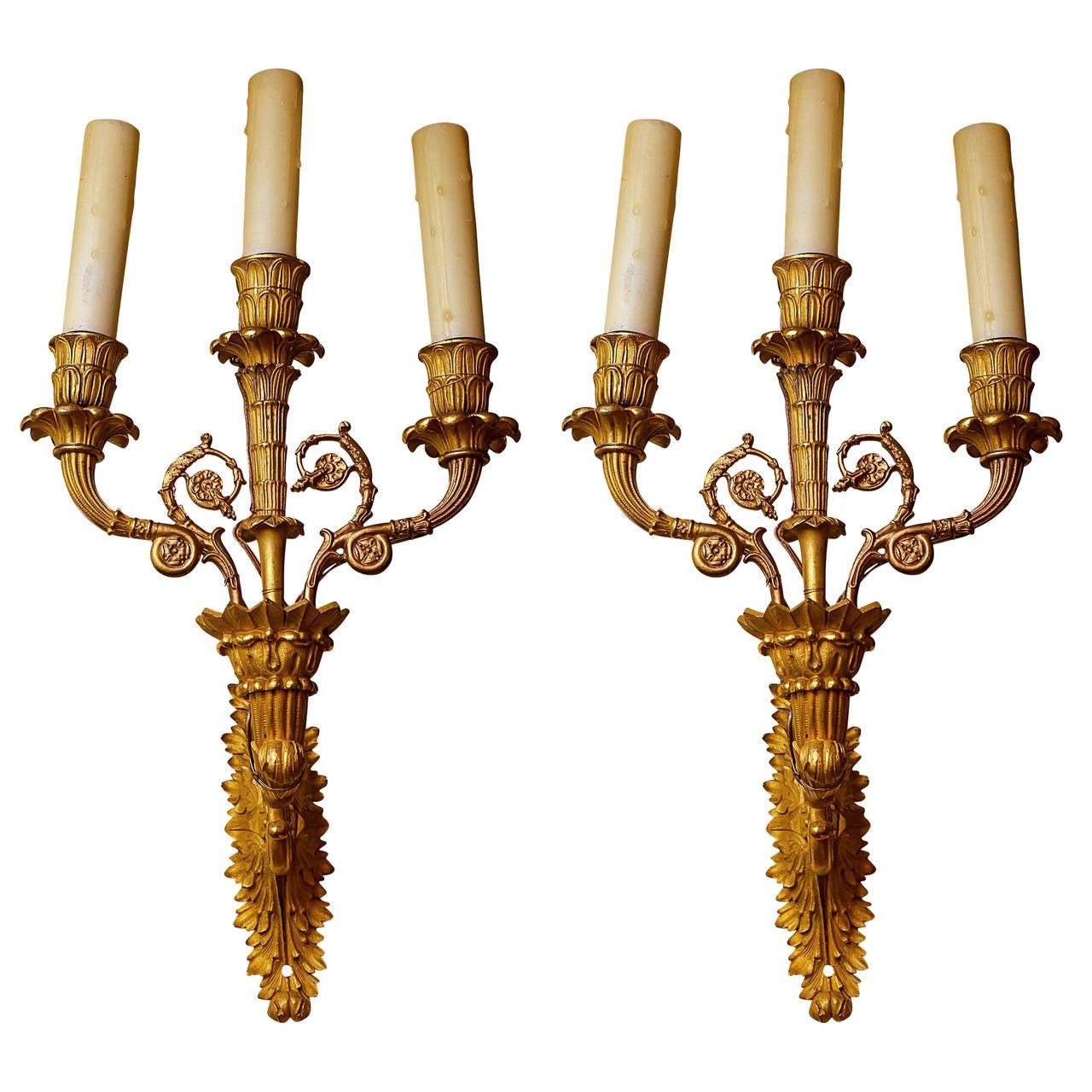 Pair of Emire Style Gilt Bronze Three-Arm Wall Light Sconces