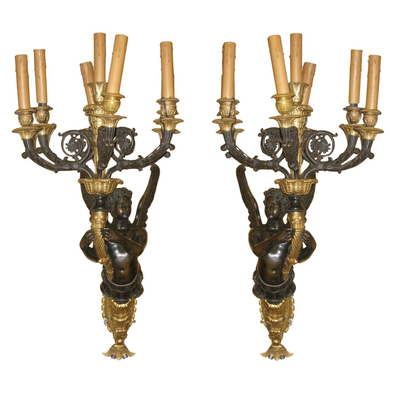 Large Bronze Wall Sconces : Large Pair of French Empire Style Bronze Figural Six-Light Wall Light Sconces For Sale at 1stdibs