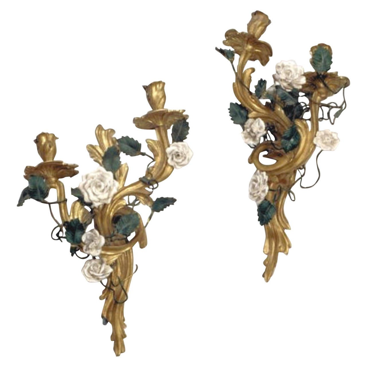Pair of Louis XV Style Gilt Bronze Sconces with Porcelain Flowers For Sale