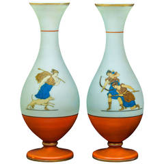 Neoclassical Pair of Opaline Glass Vases with Painted Figures