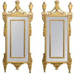 Pair of Italian Neoclassical Giltwood Mirrors