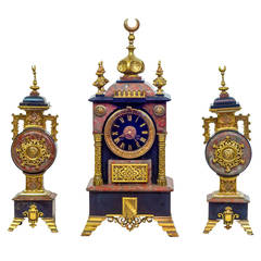 Three-Piece Marble and Bronze Clock Garniture Set Made for the Islamic Market