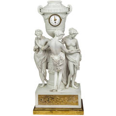 Neoclassical French Bisque Porcelain Figural Mantel Clock with Nude Figures