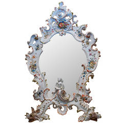 Venetian Floral Painted Porcelain Mirror