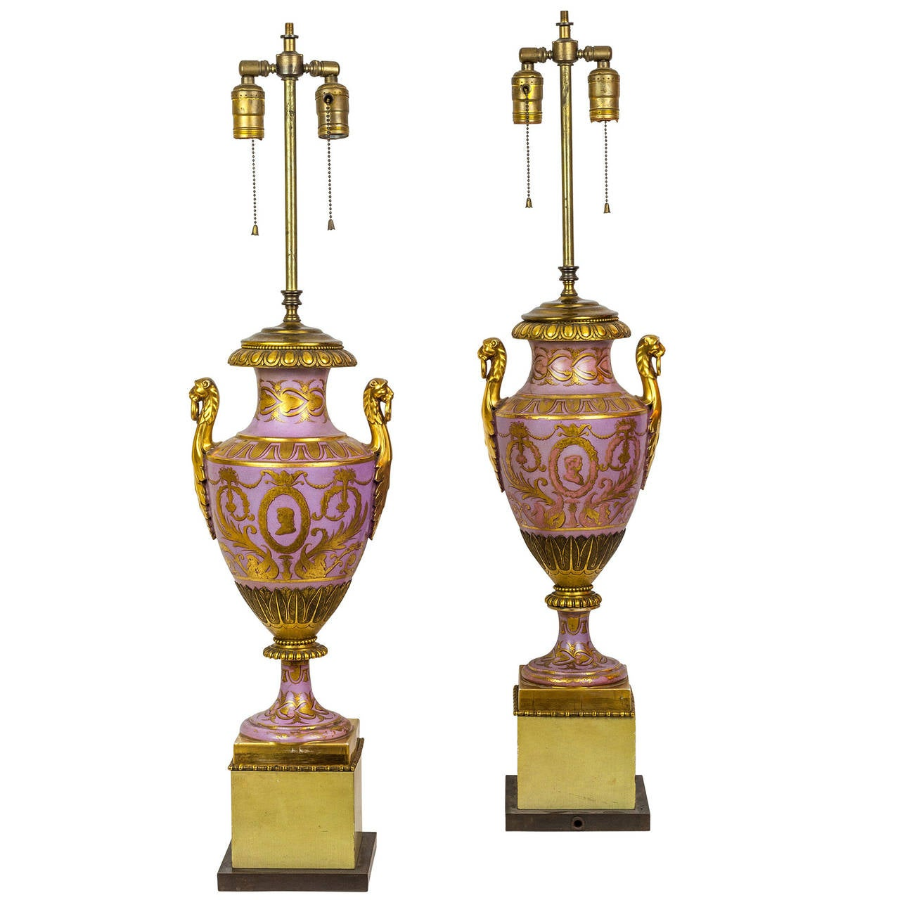 Pair of Neoclassical Gold Painted Porcelain Lamps