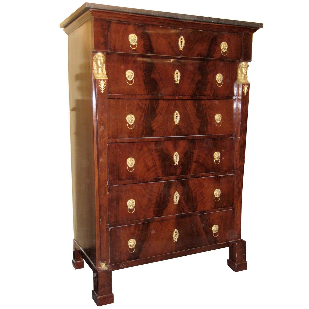 Tall French Empire Style Mahogany Chest Of Drawers For