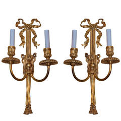 Pair of Gilt Bronze Two-Arm Wall Light Sconces Attributed to Caldwell & Co.