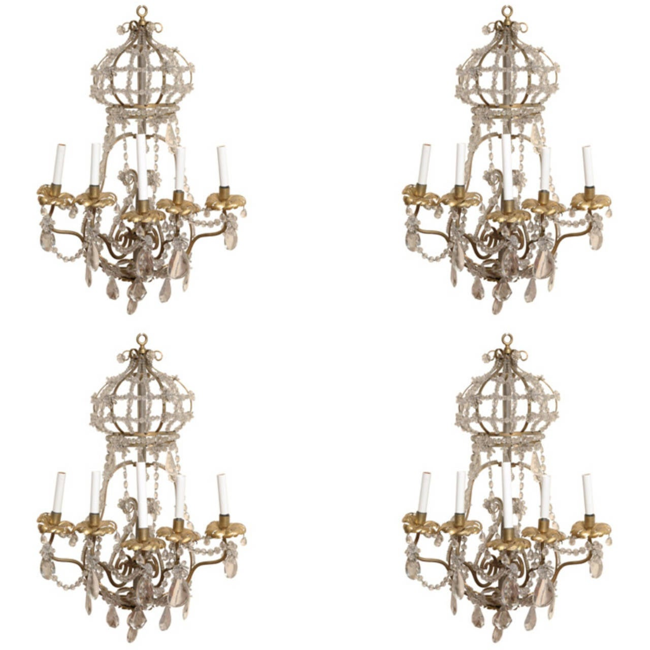 Set of Four Large Gilt Metal and Crystal Wall Lights Sconces