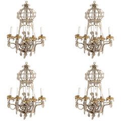 Set of Four Large Gilt Metal and Crystal Wall Lights Sconces