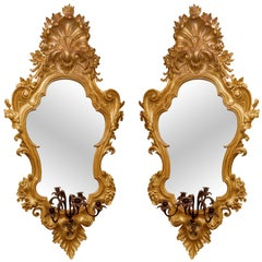 Large Pair of Giltwood and Gesso Vertical Mirrors