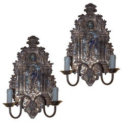 Pair of Silvered Figural Two-Arm Wall Light Sconces