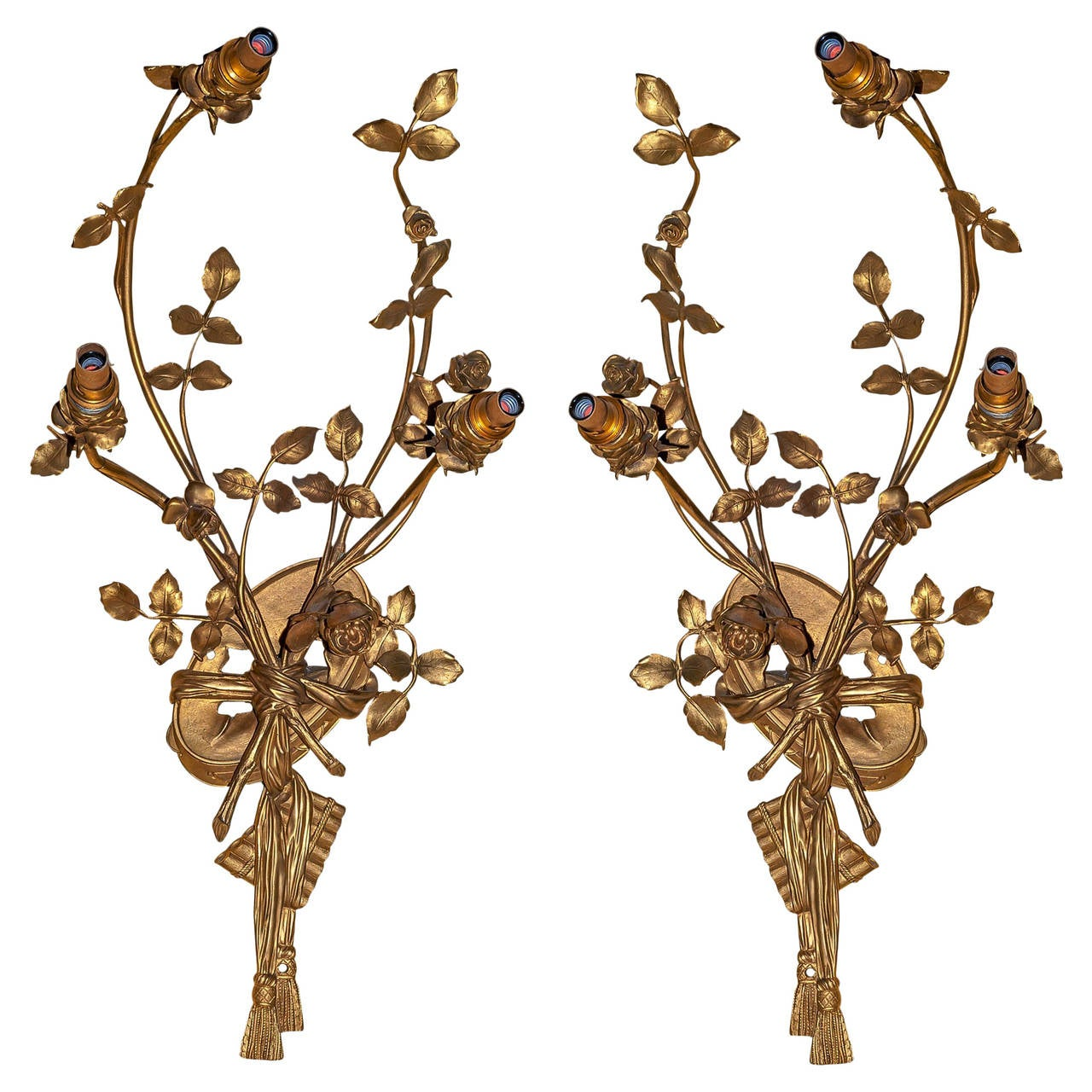 Pair of Louis XV Style Gilt Bronze Musical Motif Wall Light Sconces