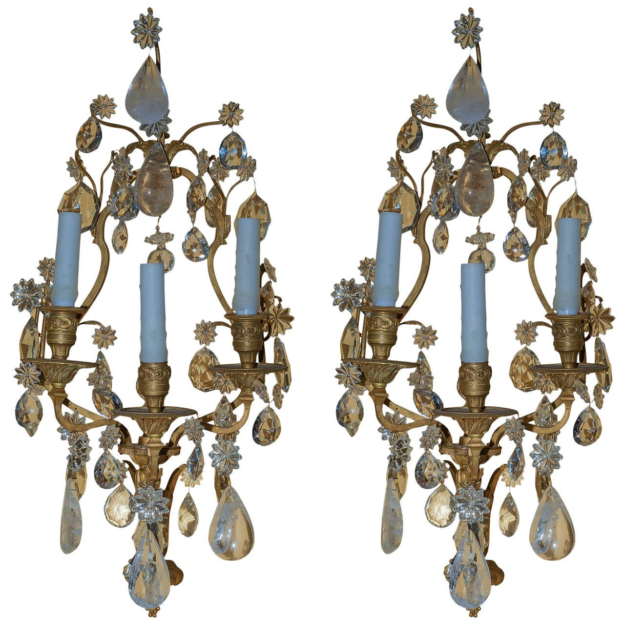 Pair of Rock Crystal and Gilt Bronze Three-Arm Wall Light Sconces at 1stdibs