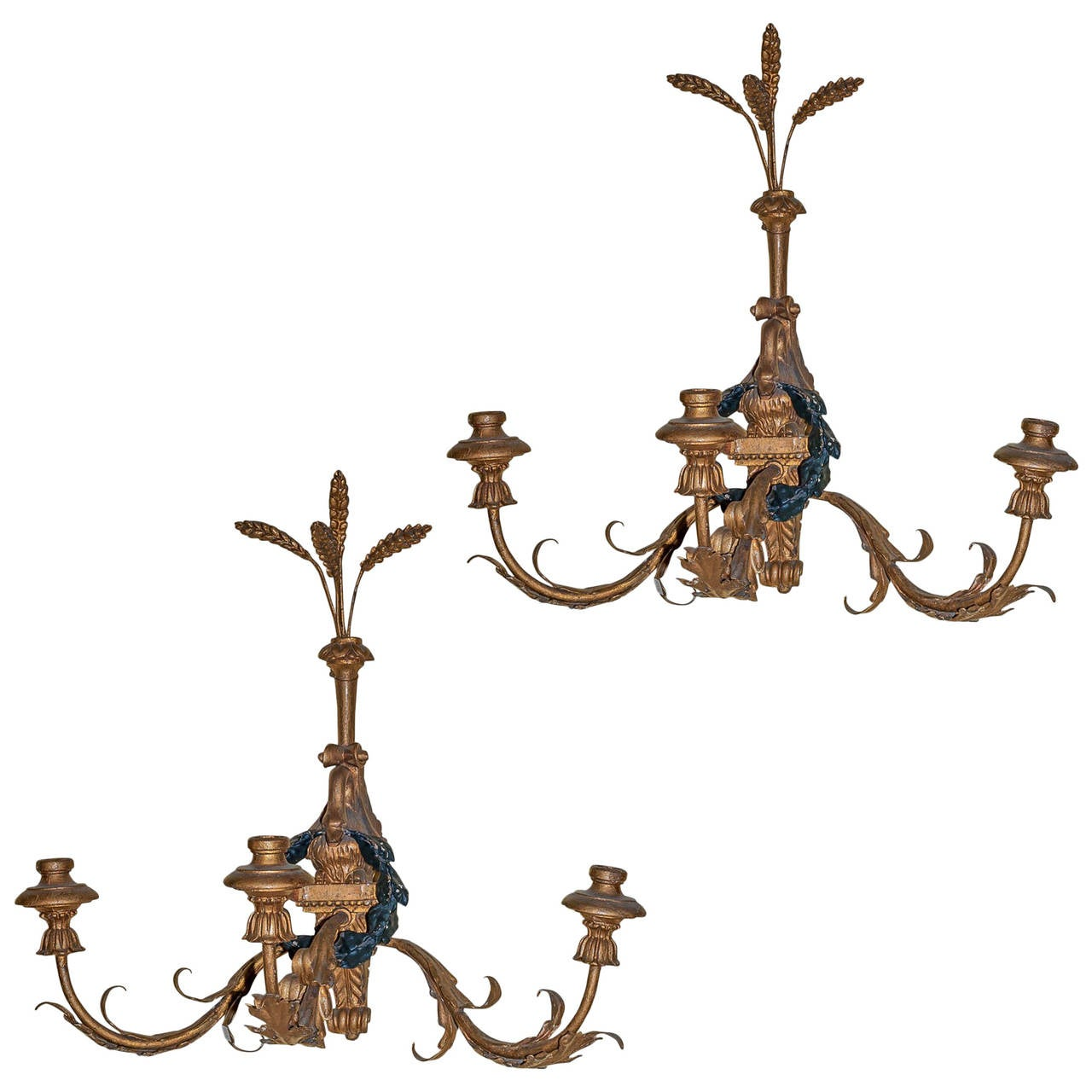 Pair of Giltwood and Tole Three-Arm Wall Light Sconces