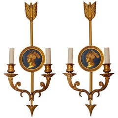 Pair of Empire Style Neoclassical Two-Tone Bronze Two-Arm Wall Light Sconces