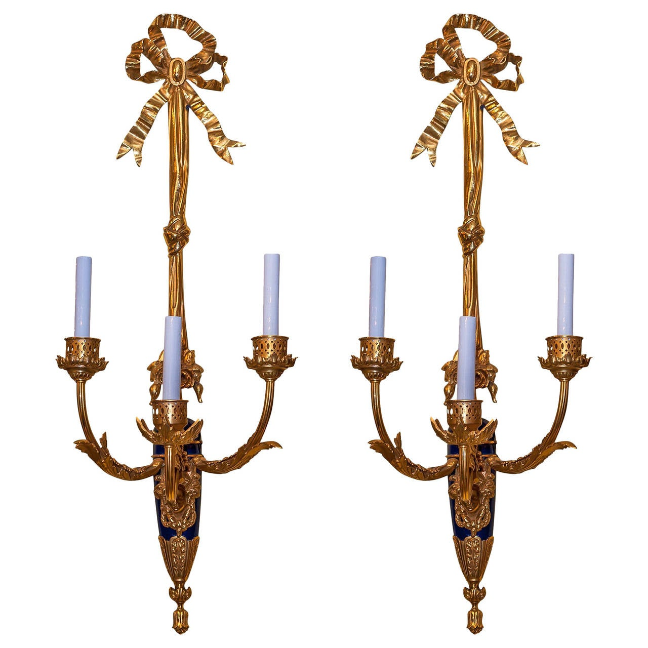 Antique Pair of Gilt Bronze and Blue Three-Arm Wall Light Sconces For Sale at 1stdibs