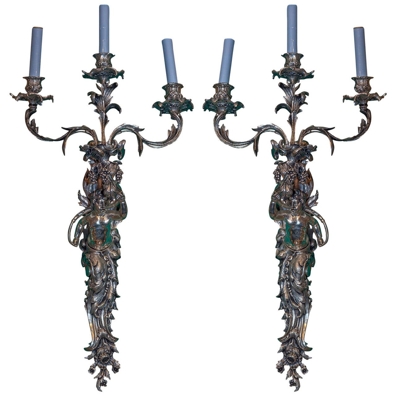 Pair of Silvered Bronze Figural Three-Arm Wall Lights