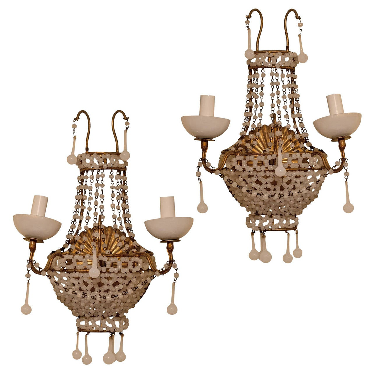 Pair of Venetian Beaded Opaline Two-Arm Wall Lights Sconces For Sale