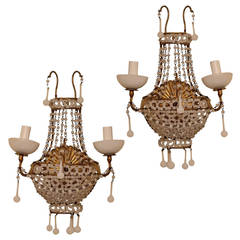 Pair of Venetian Beaded Opaline Two-Arm Wall Lights Sconces