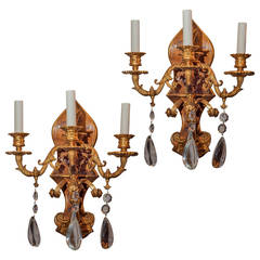 Pair of Gilt Metal Painted Chinoiserie Three-Arm Wall Light Sconces