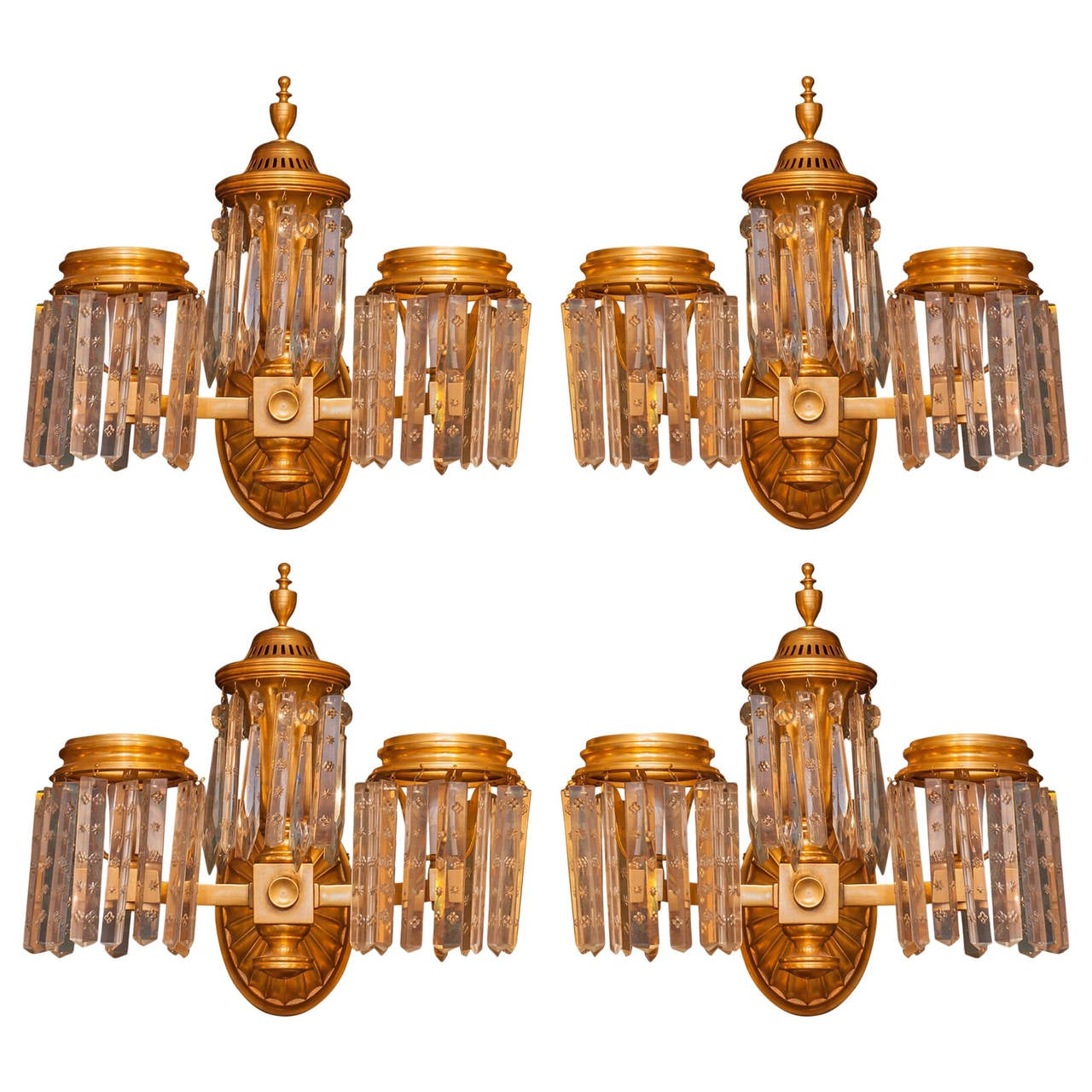 Set of Four Crystal and Bronze Two-Arm Wall Light Sconces